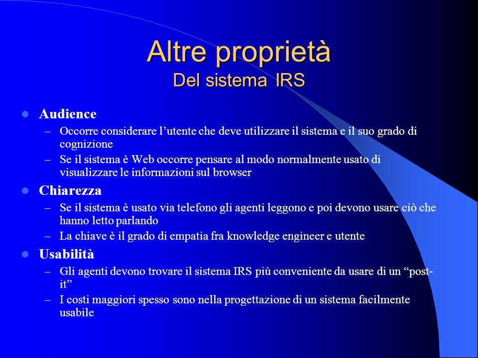 Altre proprietà Del sistema IRS Audience – Occorre considerare lutente che deve utilizzare il sistema e il suo grado di cognizione – Se il sistema è W