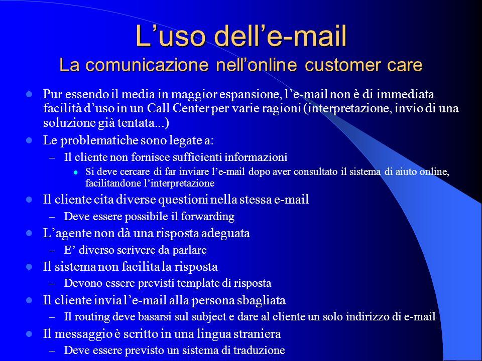 Luso delle-mail La comunicazione nellonline customer care Pur essendo il media in maggior espansione, le-mail non è di immediata facilità duso in un C