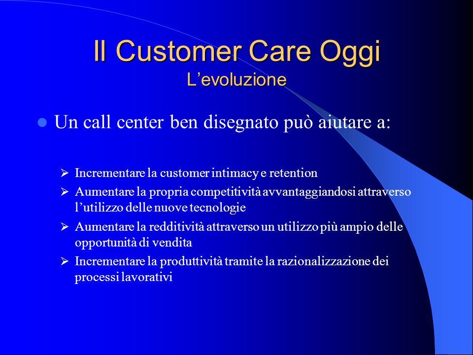 Il Customer Care Oggi Levoluzione Un call center ben disegnato può aiutare a: Incrementare la customer intimacy e retention Aumentare la propria compe