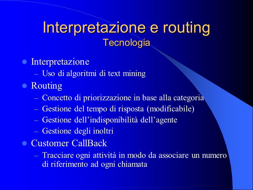 Interpretazione – Uso di algoritmi di text mining Routing – Concetto di priorizzazione in base alla categoria – Gestione del tempo di risposta (modifi
