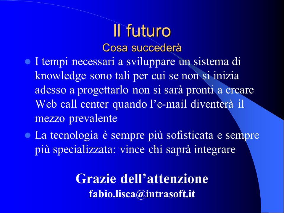 Il futuro Cosa succederà I tempi necessari a sviluppare un sistema di knowledge sono tali per cui se non si inizia adesso a progettarlo non si sarà pr