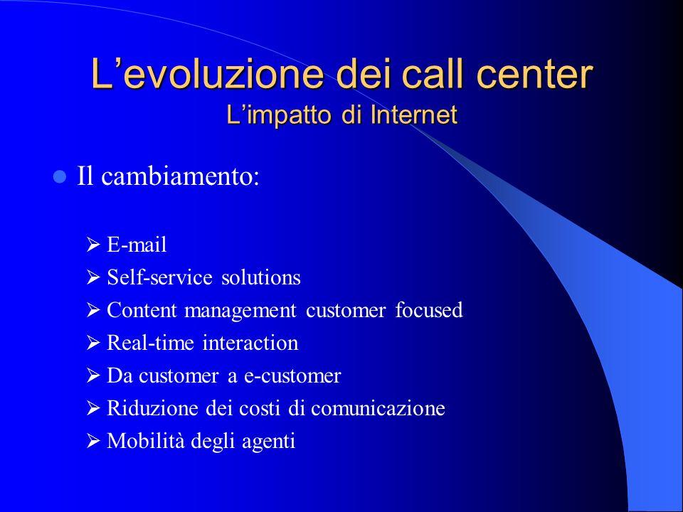 Levoluzione dei call center Limpatto di Internet Il cambiamento: E-mail Self-service solutions Content management customer focused Real-time interacti