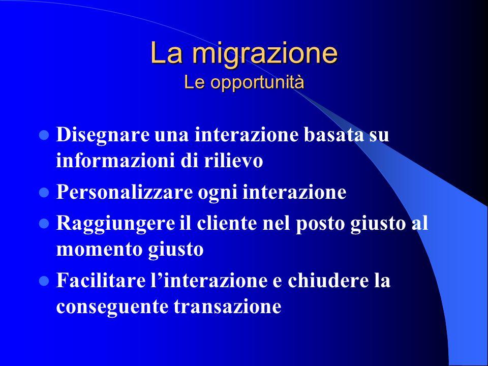La migrazione Le opportunità Disegnare una interazione basata su informazioni di rilievo Personalizzare ogni interazione Raggiungere il cliente nel po