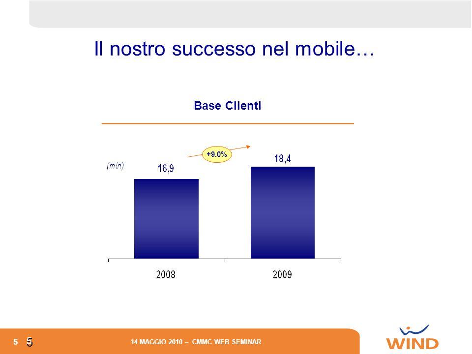 5 14 MAGGIO 2010 – CMMC WEB SEMINAR 5 5 +9.0% Base Clienti Il nostro successo nel mobile…