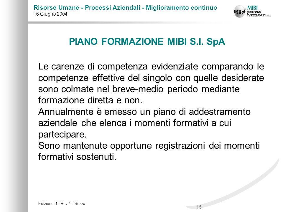 15 Risorse Umane - Processi Aziendali - Miglioramento continuo 16 Giugno 2004 Edizione: 1– Rev.1 - Bozza PIANO FORMAZIONE MIBI S.I. SpA Le carenze di