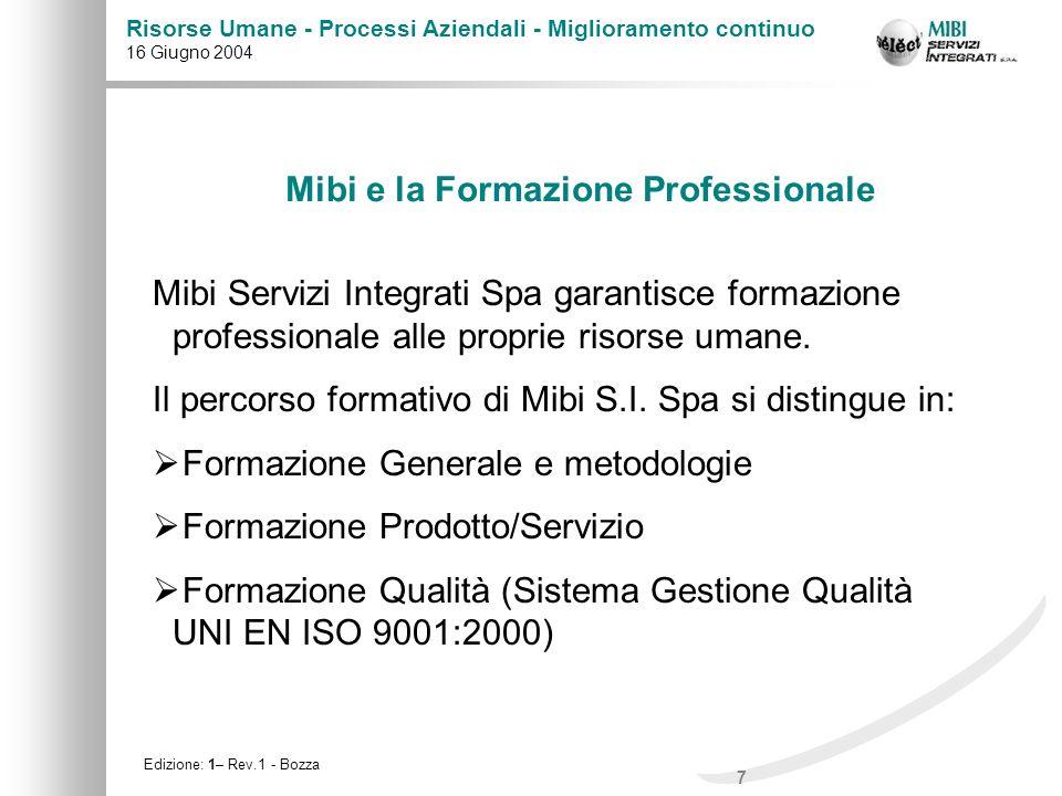 18 Risorse Umane - Processi Aziendali - Miglioramento continuo 16 Giugno 2004 Edizione: 1– Rev.1 - Bozza Mibi S.I.