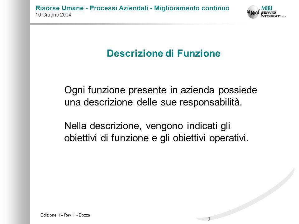 9 Risorse Umane - Processi Aziendali - Miglioramento continuo 16 Giugno 2004 Edizione: 1– Rev.1 - Bozza Descrizione di Funzione Ogni funzione presente