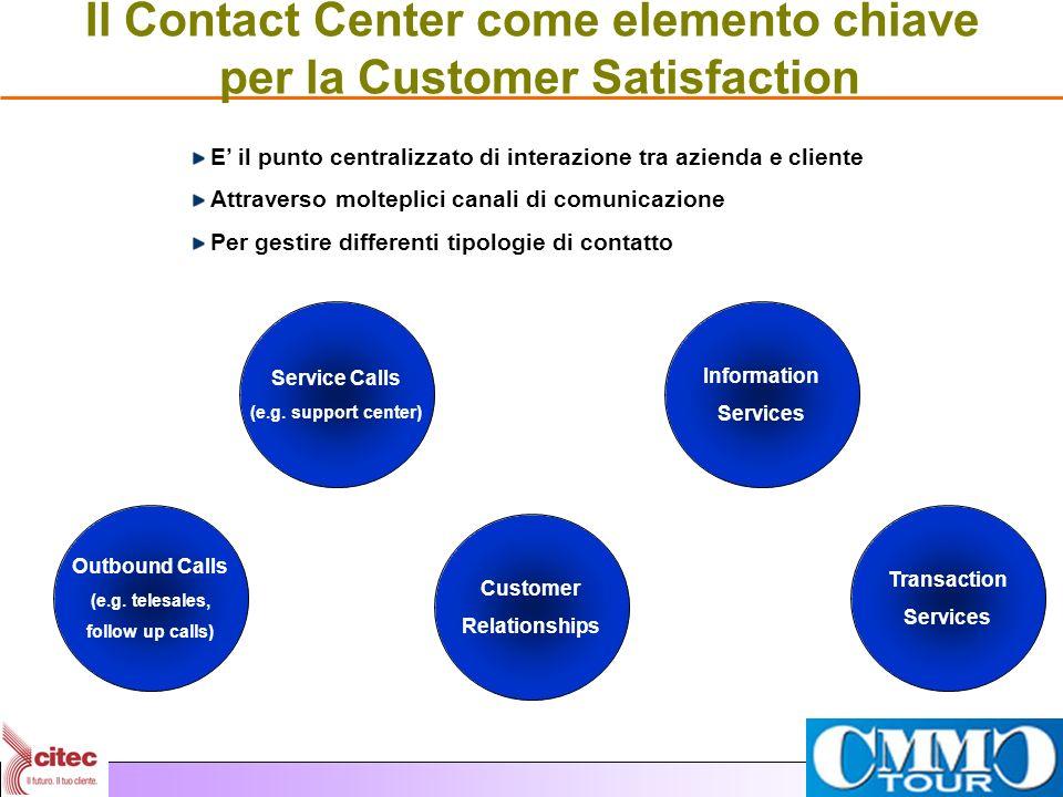 Il Contact Center come elemento chiave per la Customer Satisfaction E il punto centralizzato di interazione tra azienda e cliente Attraverso molteplic