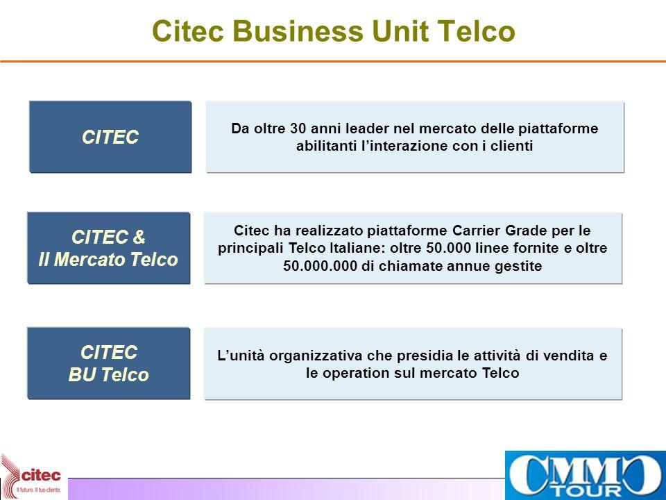 Citec Business Unit Telco CITEC Da oltre 30 anni leader nel mercato delle piattaforme abilitanti linterazione con i clienti CITEC & Il Mercato Telco C
