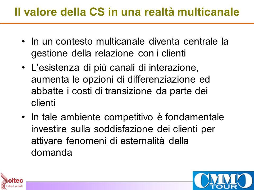 Il valore della CS in una realtà multicanale In un contesto multicanale diventa centrale la gestione della relazione con i clienti Lesistenza di più c