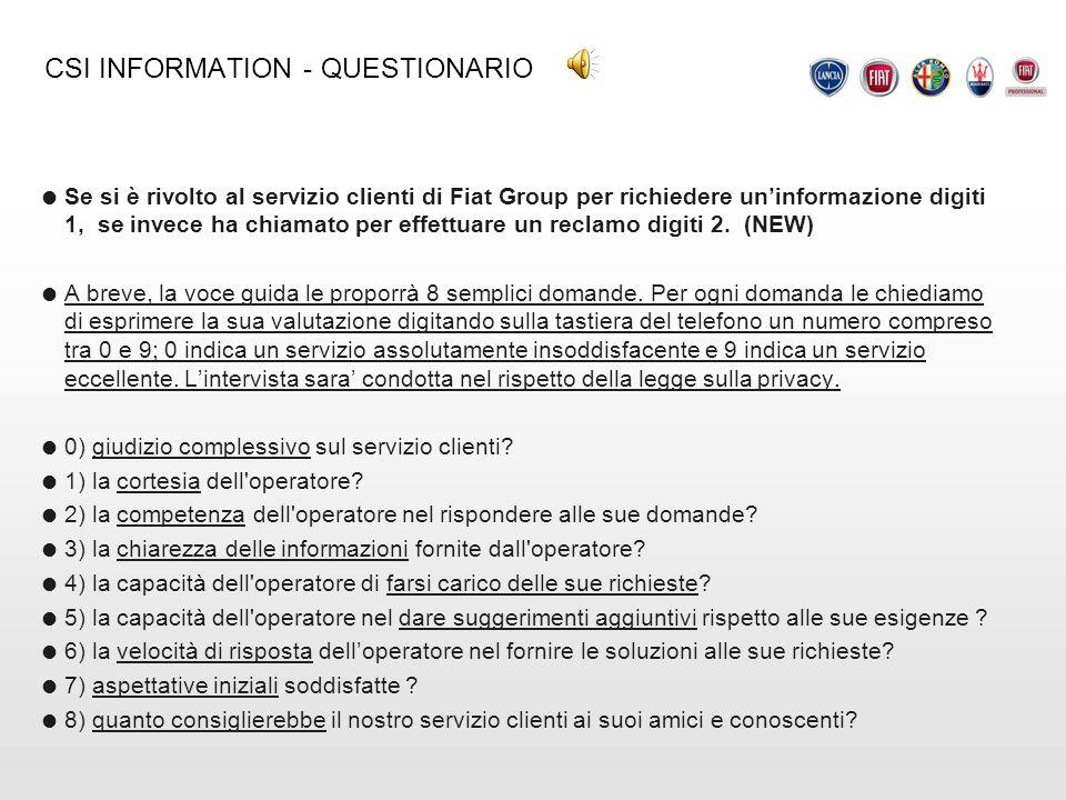 CSI INFORMATION - QUESTIONARIO Se si è rivolto al servizio clienti di Fiat Group per richiedere uninformazione digiti 1, se invece ha chiamato per eff