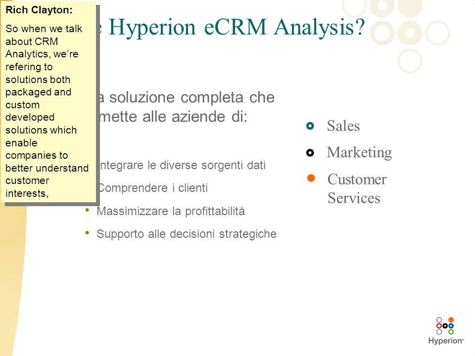 Cosè Hyperion eCRM Analysis? Una soluzione completa che permette alle aziende di: Integrare le diverse sorgenti dati Comprendere i clienti Massimizzar