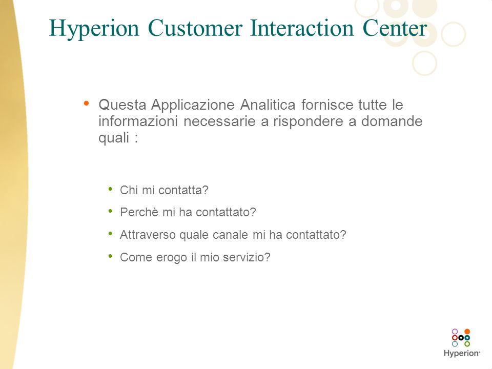Hyperion Customer Interaction Center Questa Applicazione Analitica fornisce tutte le informazioni necessarie a rispondere a domande quali : Chi mi con