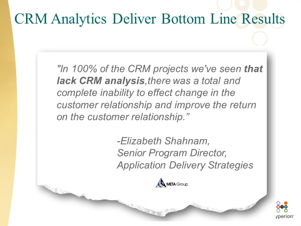 CRM Analytics Deliver Bottom Line Results