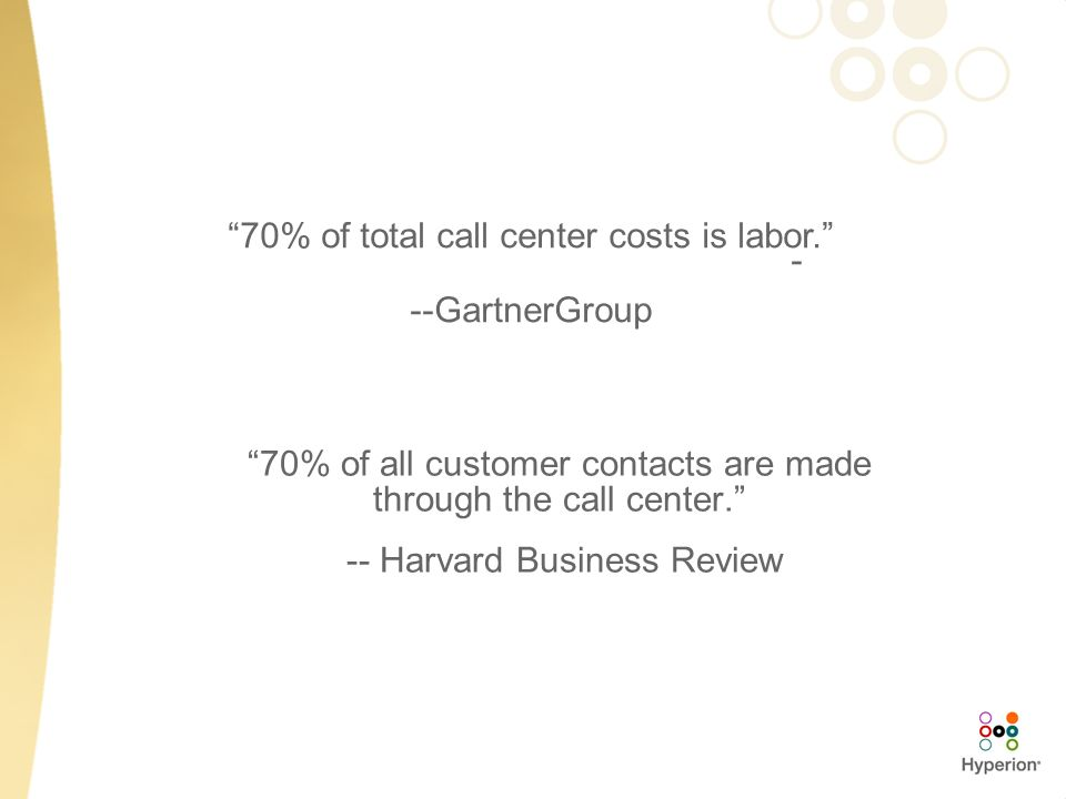 70% of all customer contacts are made through the call center. -- Harvard Business Review 70% of total call center costs is labor. - --GartnerGroup