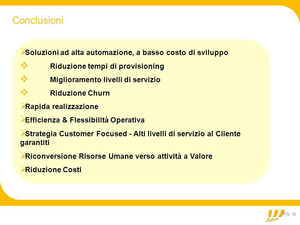 PG. 10 Conclusioni Soluzioni ad alta automazione, a basso costo di sviluppo Riduzione tempi di provisioning Miglioramento livelli di servizio Riduzion