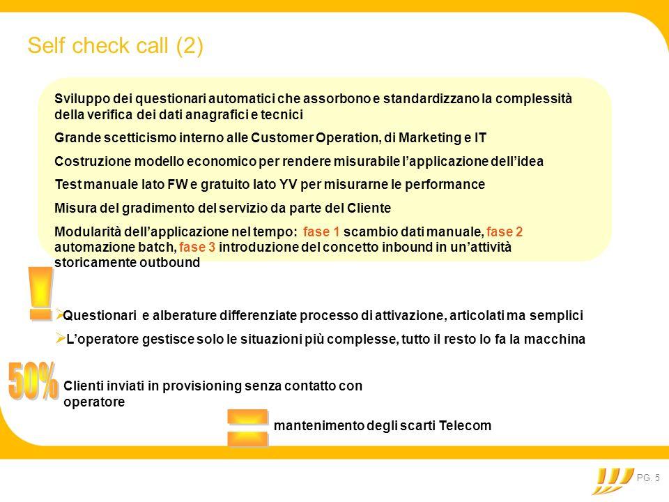 PG. 5 Self check call (2) Sviluppo dei questionari automatici che assorbono e standardizzano la complessità della verifica dei dati anagrafici e tecni