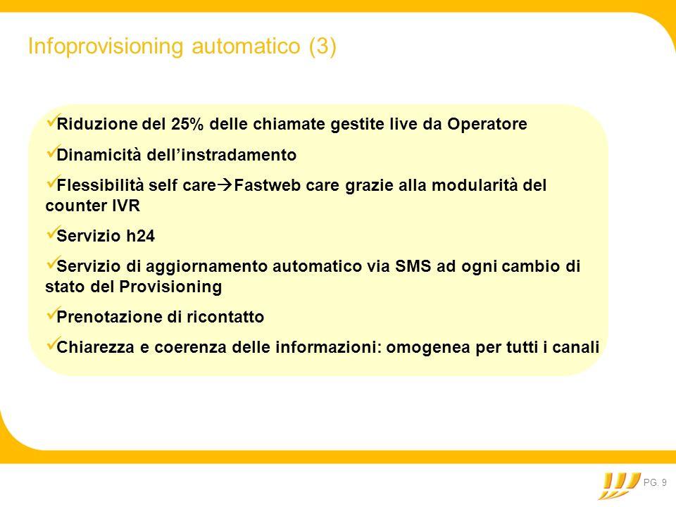 PG. 9 Infoprovisioning automatico (3) Riduzione del 25% delle chiamate gestite live da Operatore Dinamicità dellinstradamento Flessibilità self care F