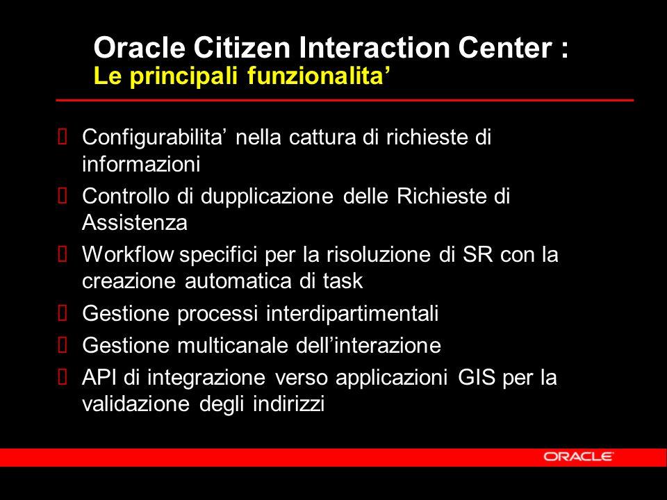 Oracle Citizen Interaction Center : Le principali funzionalita Configurabilita nella cattura di richieste di informazioni Controllo di dupplicazione delle Richieste di Assistenza Workflow specifici per la risoluzione di SR con la creazione automatica di task Gestione processi interdipartimentali Gestione multicanale dellinterazione API di integrazione verso applicazioni GIS per la validazione degli indirizzi