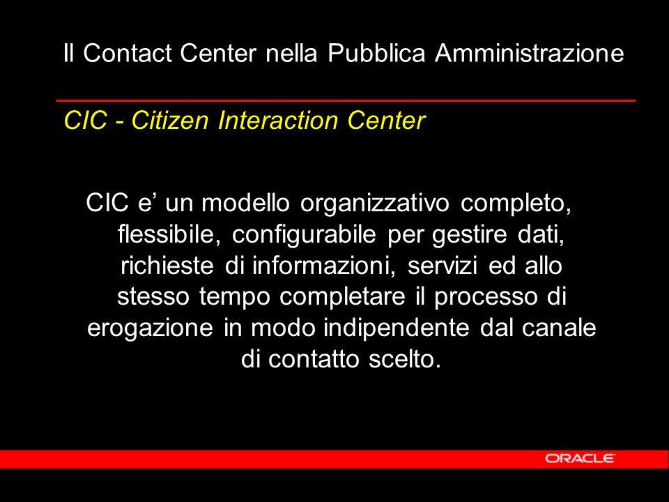Il Contact Center nella Pubblica Amministrazione CIC e un modello organizzativo completo, flessibile, configurabile per gestire dati, richieste di informazioni, servizi ed allo stesso tempo completare il processo di erogazione in modo indipendente dal canale di contatto scelto.