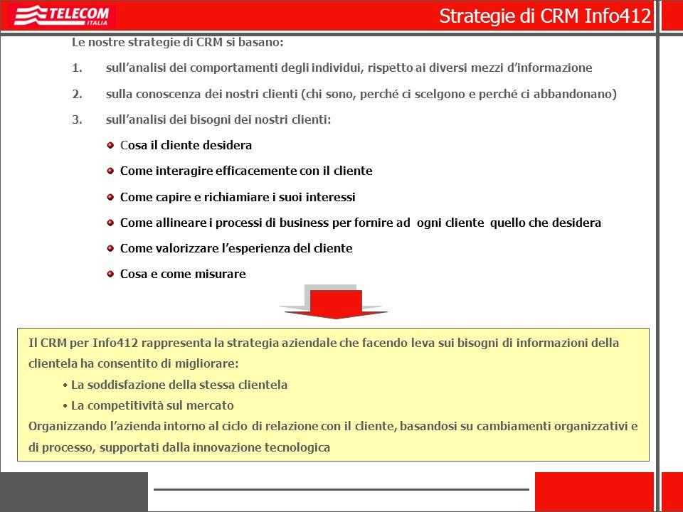 Le nostre strategie di CRM si basano: 1.sullanalisi dei comportamenti degli individui, rispetto ai diversi mezzi dinformazione 2.sulla conoscenza dei
