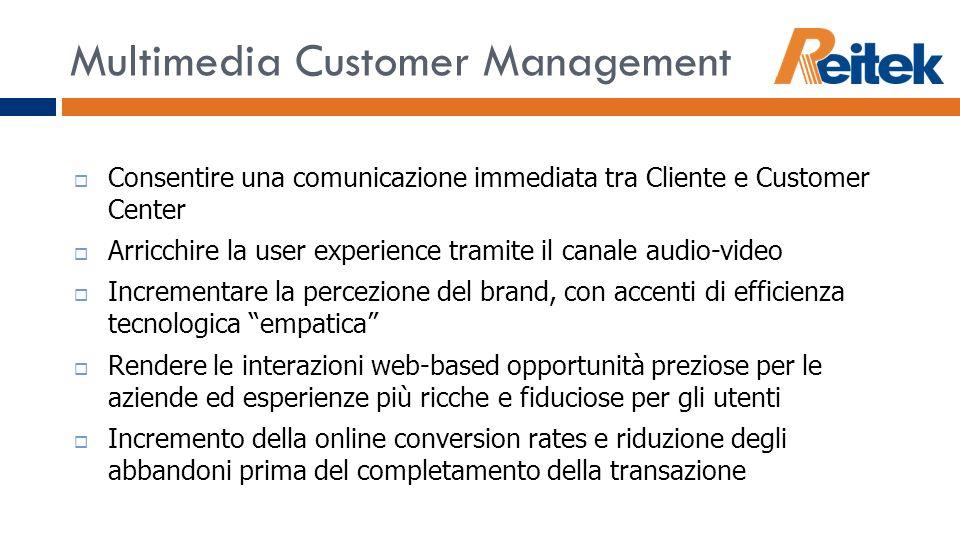 Multimedia Customer Management Consentire una comunicazione immediata tra Cliente e Customer Center Arricchire la user experience tramite il canale au