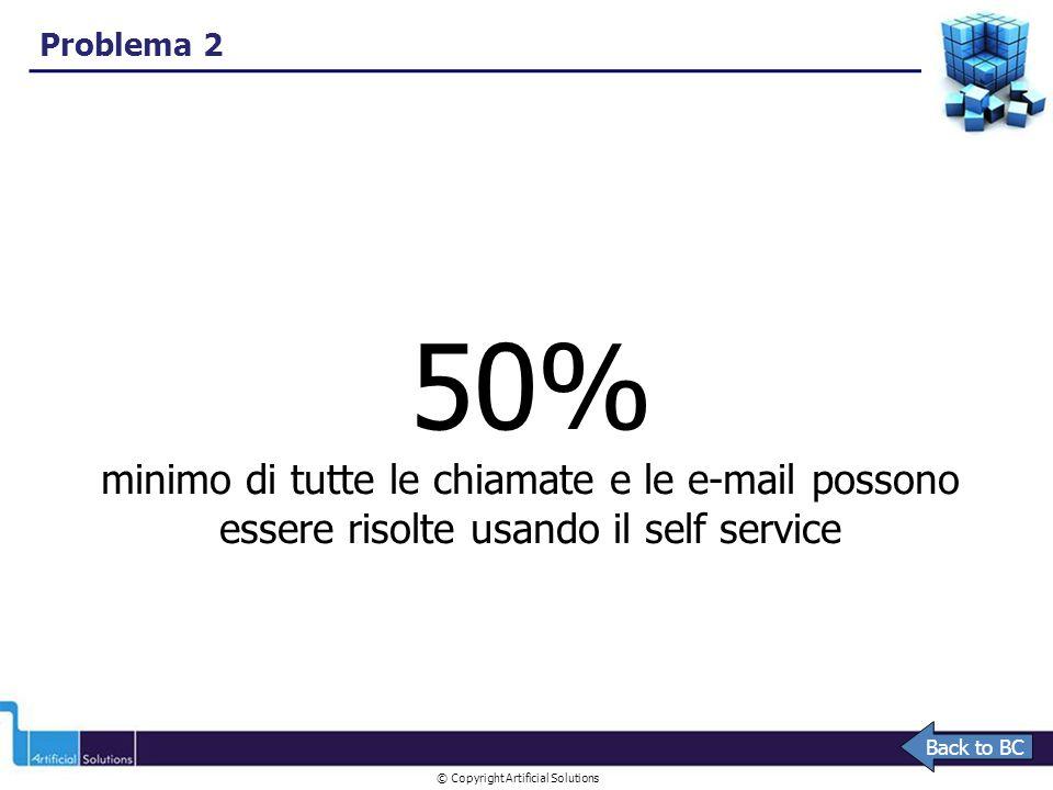 © Copyright Artificial Solutions 50% minimo di tutte le chiamate e le e-mail possono essere risolte usando il self service Problema 2 Back to BC