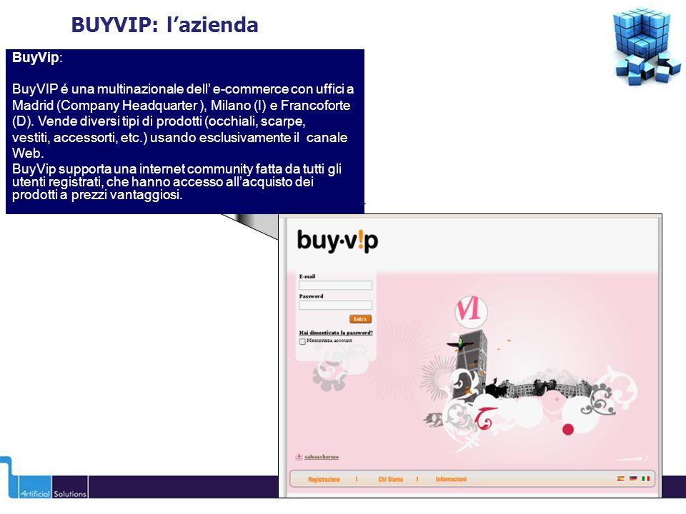 BuyVip: BuyVIP é una multinazionale dell e-commerce con uffici a Madrid (Company Headquarter ), Milano (I) e Francoforte (D).