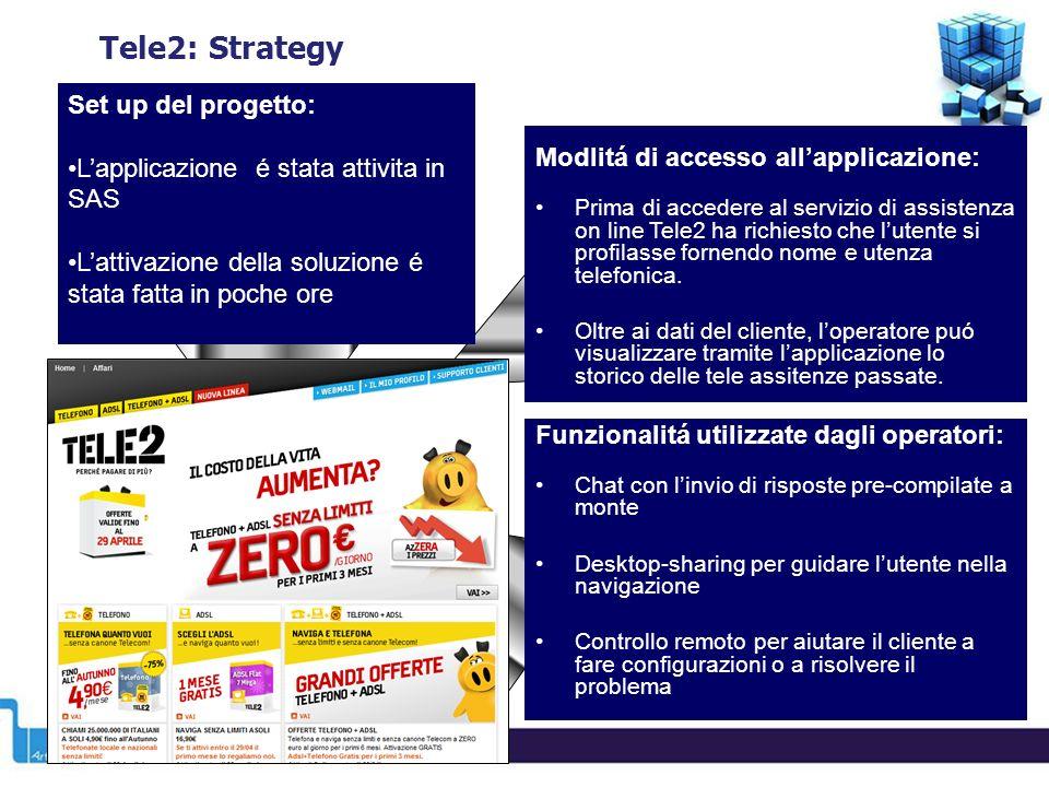 Tele2: Strategy Modlitá di accesso allapplicazione: Prima di accedere al servizio di assistenza on line Tele2 ha richiesto che lutente si profilasse fornendo nome e utenza telefonica.