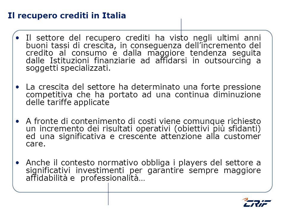 Il recupero crediti in Italia Il settore del recupero crediti ha visto negli ultimi anni buoni tassi di crescita, in conseguenza dellincremento del cr