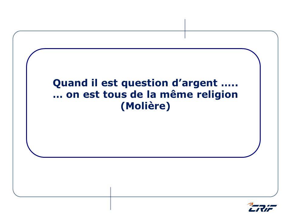 Quand il est question dargent ….. … on est tous de la même religion (Molière)