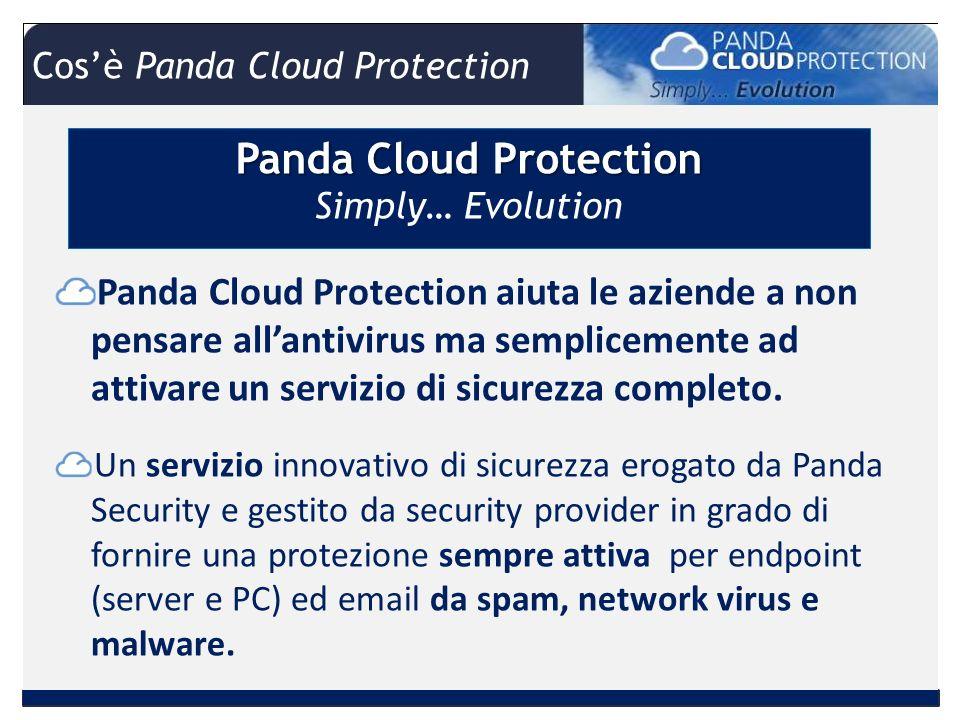 Panda Cloud Protection Panda Cloud Protection Simply… Evolution Panda Cloud Protection aiuta le aziende a non pensare allantivirus ma semplicemente ad attivare un servizio di sicurezza completo.