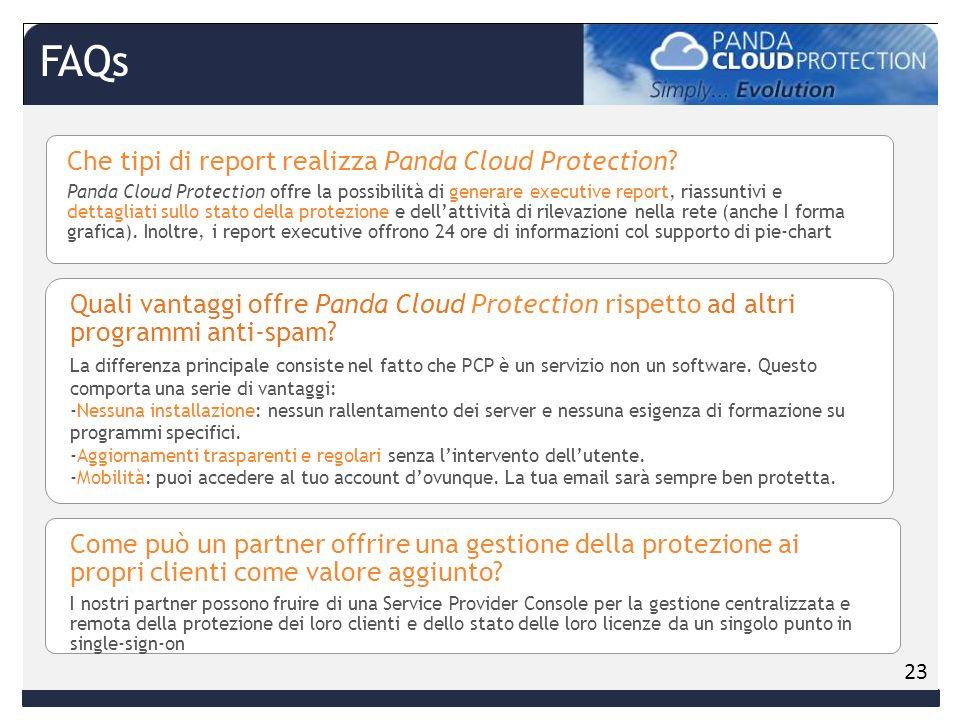 Che tipi di report realizza Panda Cloud Protection.