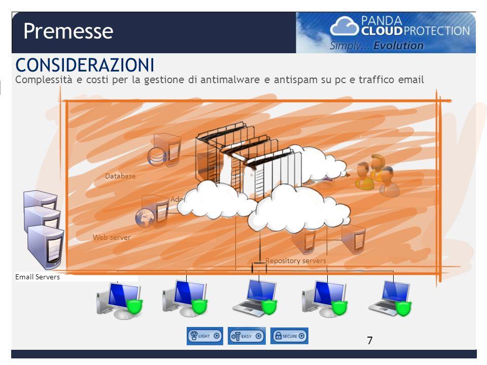 Database Admin servers Console Admins Web server Repository servers CONSIDERAZIONI Complessità e costi per la gestione di antimalware e antispam su pc e traffico email Email Servers X XX X 7 Premesse