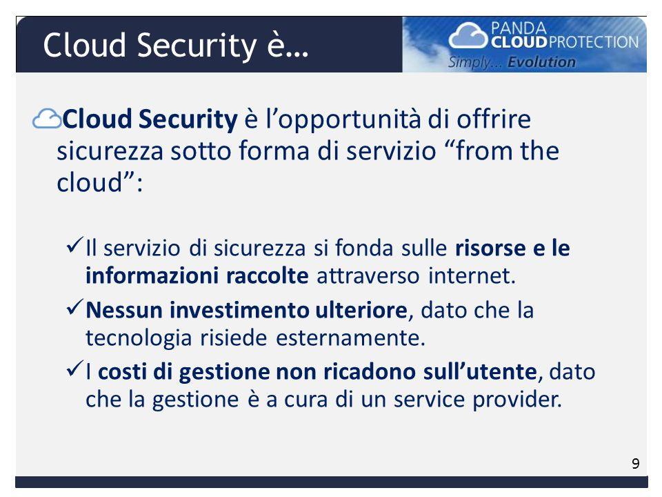 Cloud Security è lopportunità di offrire sicurezza sotto forma di servizio from the cloud: Il servizio di sicurezza si fonda sulle risorse e le informazioni raccolte attraverso internet.