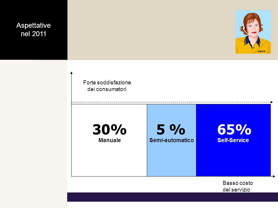 Forte soddisfazione dei consumatori Basso costo del servizio ManualeSelf-Service 45%50% Semi-automatico 5 % Actual Situation