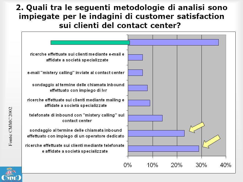 2. Quali tra le seguenti metodologie di analisi sono impiegate per le indagini di customer satisfaction sui clienti del contact center? Fonte: CMMC 20