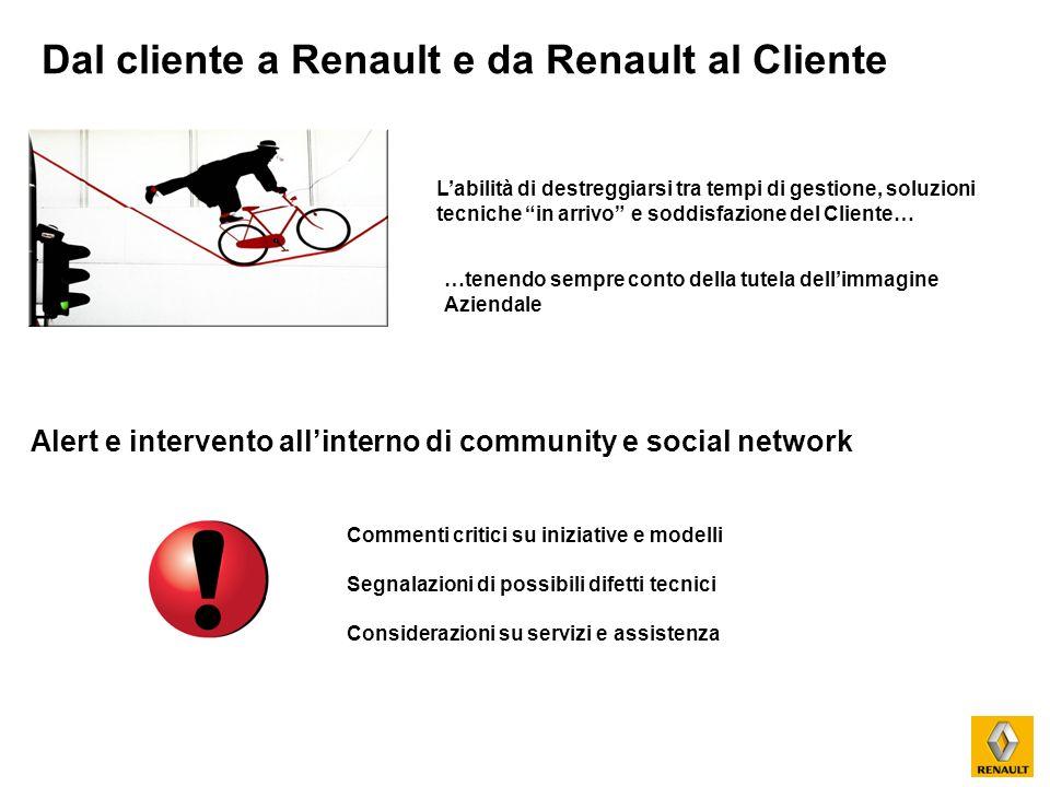 Dal cliente a Renault e da Renault al Cliente Labilità di destreggiarsi tra tempi di gestione, soluzioni tecniche in arrivo e soddisfazione del Client