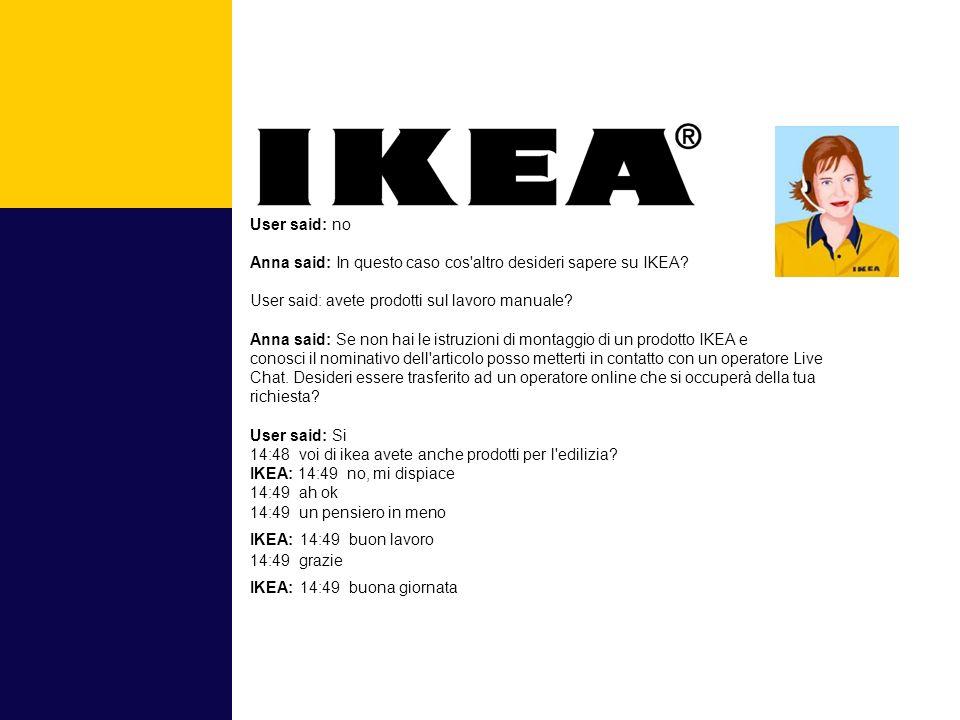 User said: no Anna said: In questo caso cos altro desideri sapere su IKEA.