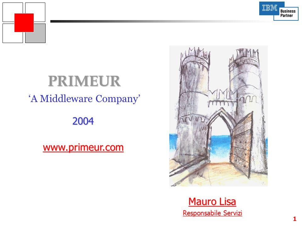 1 PRIMEUR A Middleware Company www.primeur.com 2004 Mauro Lisa Responsabile Servizi
