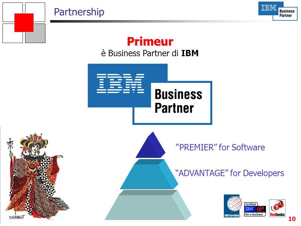 10 Primeur è Business Partner di IBM Partnership PREMIER for Software ADVANTAGE for Developers