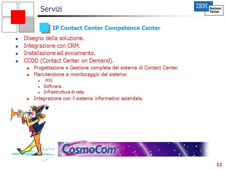 12 IP Contact Center Competence Center Servizi Disegno della soluzione. Integrazione con CRM. Installazione ed avviamento. CCOD (Contact Center on Dem
