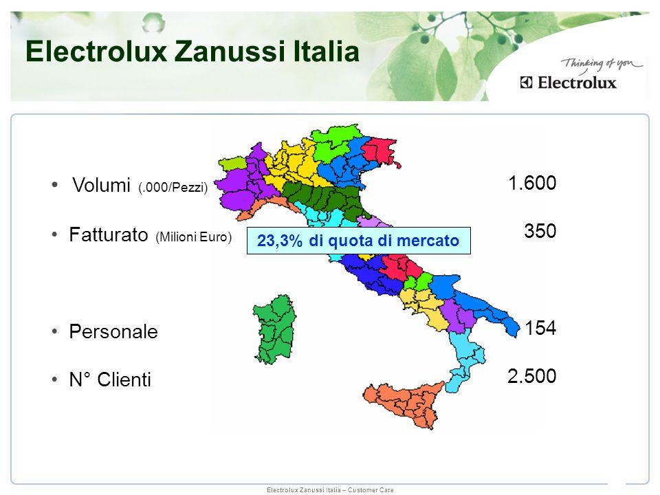 Electrolux Zanussi Italia – Customer Care Marche della concorrenza 23.3% di quota di mercato Altre marche del gruppo Electrolux Zanussi Italia Business 2008 Mercato totale (.000/Pezzi) 5.718 Mercato totale (.000/Pezzi) 5.718