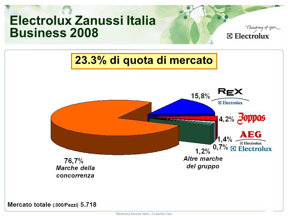 Electrolux Zanussi Italia – Customer Care Marche della concorrenza 23.3% di quota di mercato Altre marche del gruppo Electrolux Zanussi Italia Busines