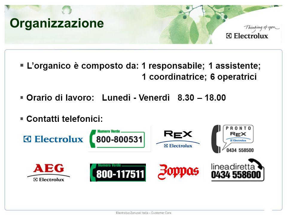 Electrolux Zanussi Italia – Customer Care Lorganico è composto da: 1 responsabile; 1 assistente; 1 coordinatrice; 6 operatrici Orario di lavoro: Luned