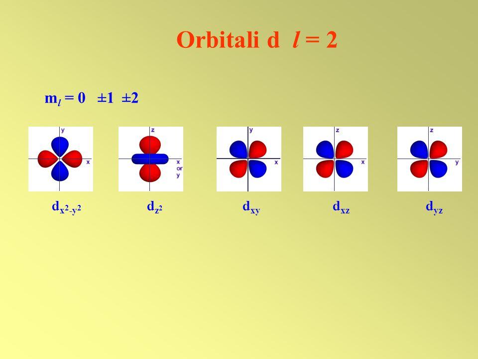 Orbitali d l = 2 d x 2 -y 2 d z 2 d xy d xz d yz m l = 0 ±1 ±2