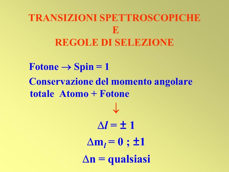 TRANSIZIONI SPETTROSCOPICHE E REGOLE DI SELEZIONE Fotone Spin = 1 Conservazione del momento angolare totale Atomo + Fotone l = ± 1 m l = 0 ; ±1 n = qu