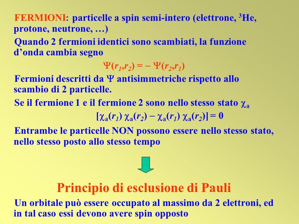 FERMIONI: particelle a spin semi-intero (elettrone, 3 He, protone, neutrone, …) Quando 2 fermioni identici sono scambiati, la funzione donda cambia se