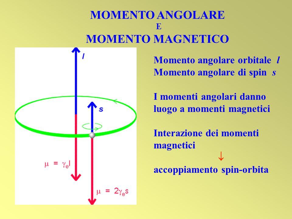 MOMENTO ANGOLARE E MOMENTO MAGNETICO Momento angolare orbitale l Momento angolare di spin s I momenti angolari danno luogo a momenti magnetici Interaz