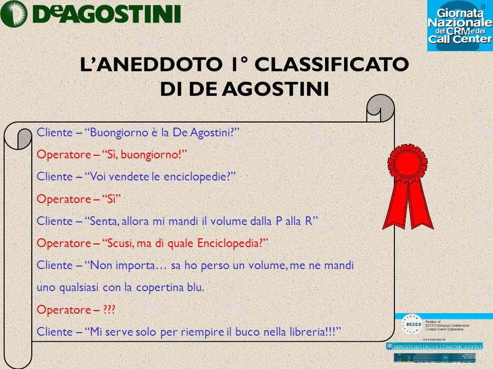 LANEDDOTO 1° CLASSIFICATO DI DE AGOSTINI Cliente – Buongiorno è la De Agostini.